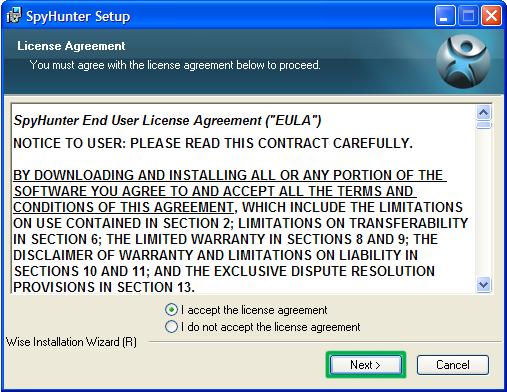 SpyHunter license agreement